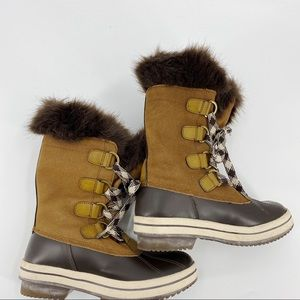 London Fog winter snow boots leather